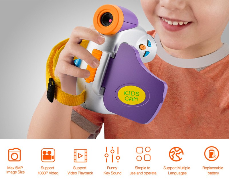1080P Cute Purple Digital Video Camera for Kids